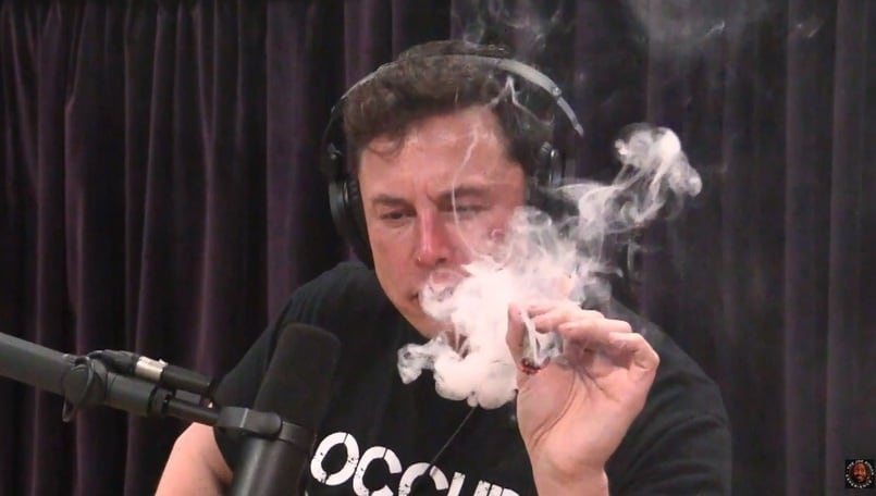 Tesla plummets as Musk smokes weed on comedy show