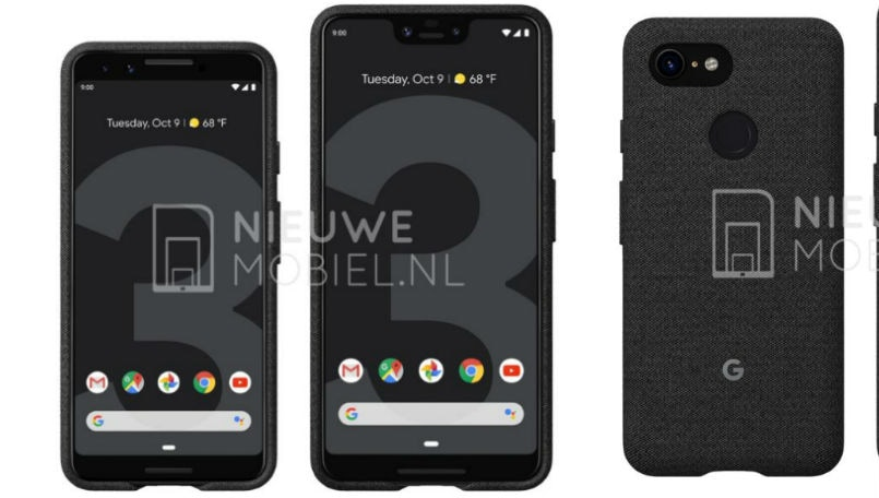 Google Pixel 3 and Pixel 3 XL purported official render leaks, shows single rear camera and notched display