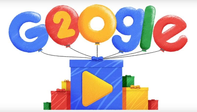 Google's 20th birthday celebrated with a video doodle