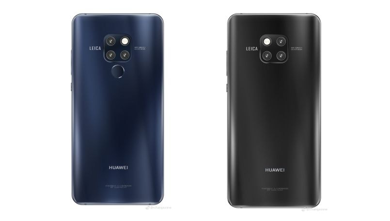 Huawei Mate 20 press renders in Black and Blue colors leaked online; launch set for October 16 in London