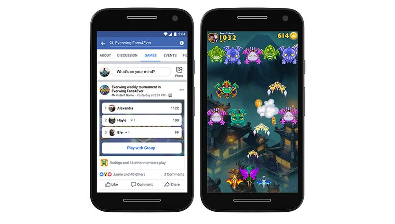 Facebook Instant Games in Lite app
