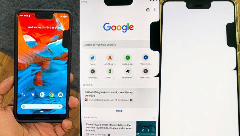 google pixel 3 xl bug creates a second notch on the side of the