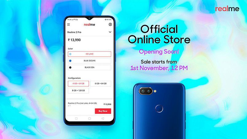 Realme 2, Realme 2 Pro to be available via official online store starting November 1