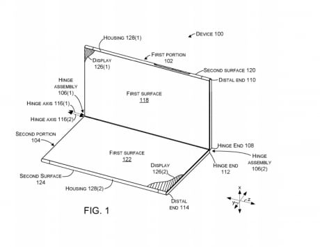 Microsoft files dual-display foldable device patent on USPTO