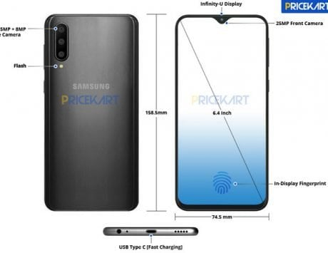 Samsung Galaxy A50 renders and detailed specifications leak leaving little to imagination