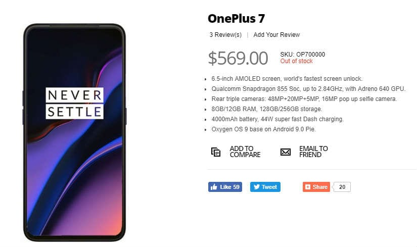 OnePlus 7 Got Listed On Giztop