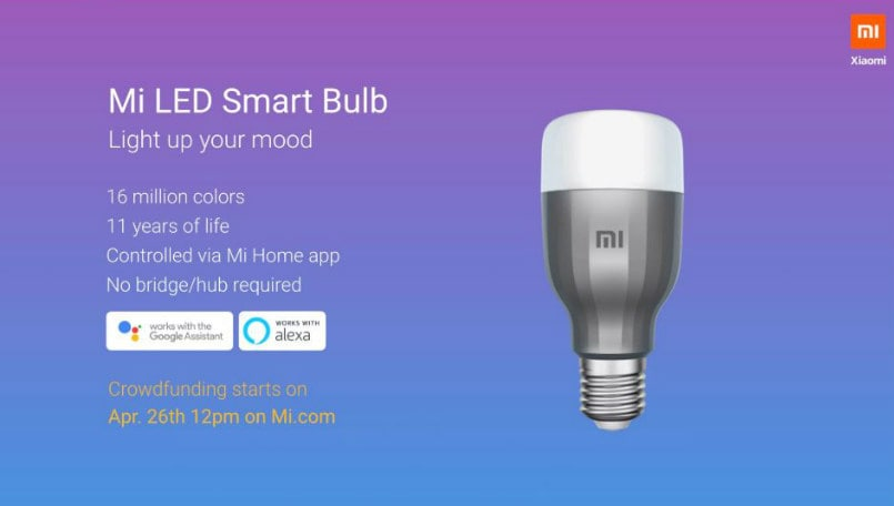 Xiaomi Mi LED Smart Bulb goes on crowdfunding at 12PM today