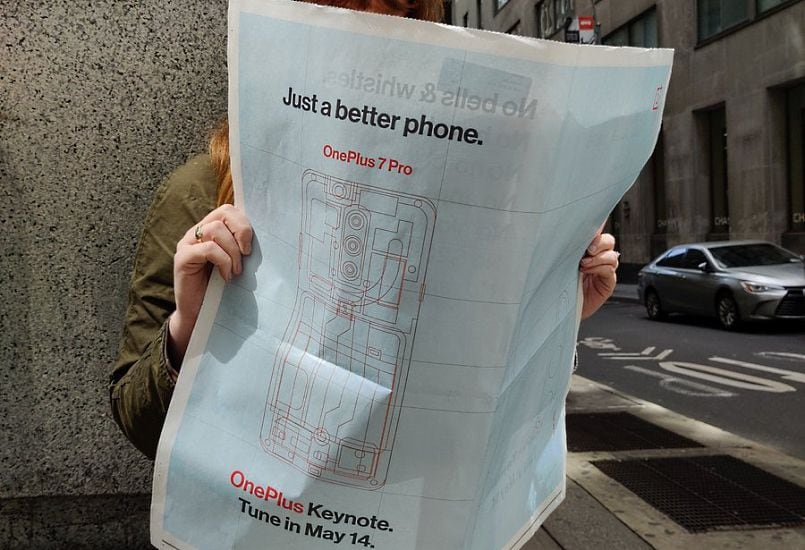 OnePlus 7 Pro sketch appears in full-page newspaper ad with more teasers