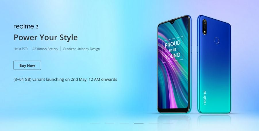 Realme 3 new variant with 3GB RAM, 64GB internal storage launching on May 2