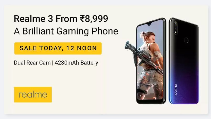 2414e1dbd Realme 3 surprise flash sale today at 12PM via Flipkart  Here s all ...
