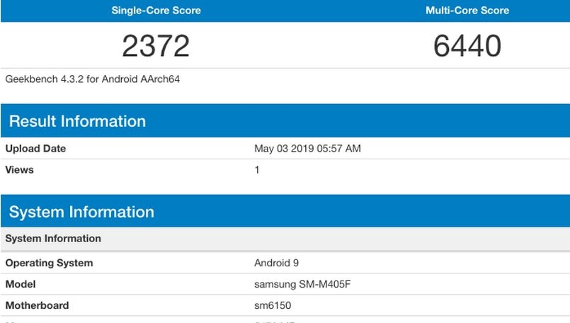 Samsung Galaxy M40 spotted on Geekbench with Snapdragon 675,  6GB RAM
