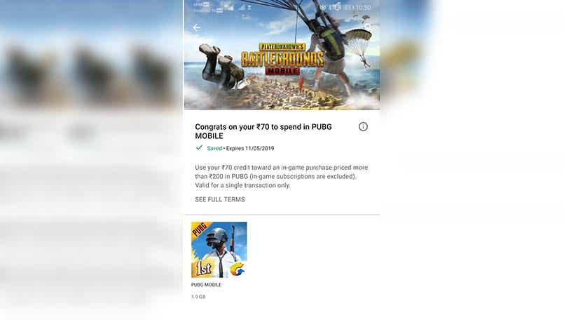Google offering PUBG Mobile players a coupon of Rs 70