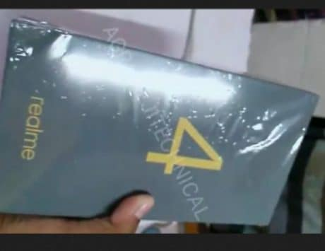 Realme 4 retail box leaked on a video