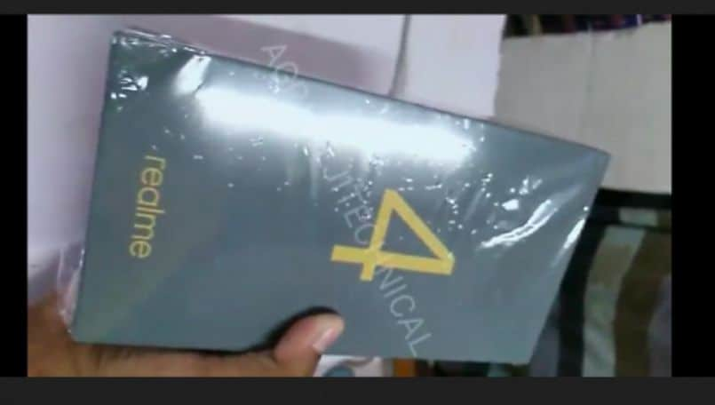 Alleged Realme 4 retail box leaked on a video