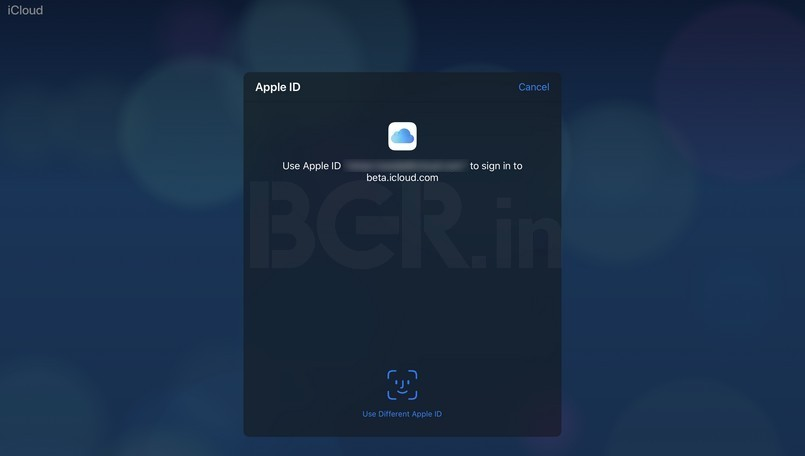 Apple iCloud Beta login Face ID Touch ID authentication screen