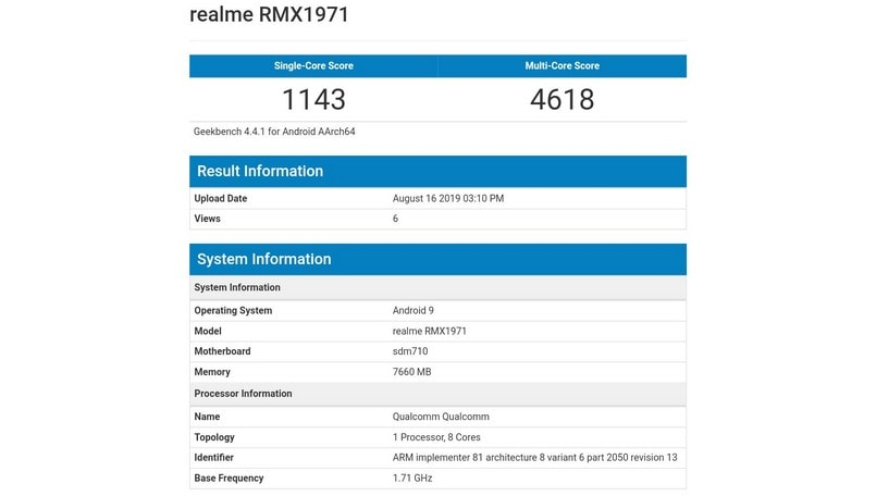 Realme 5 Pro Geekbench listing