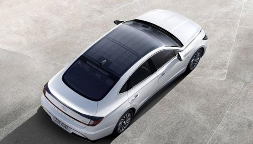 Hyundai Sonata hybrid electric car uses solar roof for charging, just like the Lightyear One