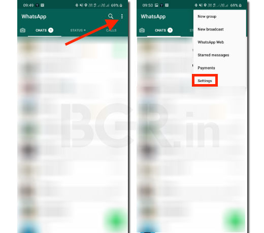 Open WhatsApp and go to Settings