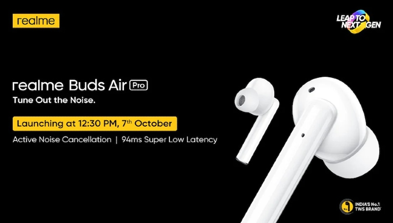 Realme Buds Wireless Pro, Realme Buds Air Pro to launch on October 7
